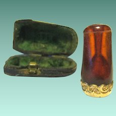 Pre 1900 Amber Pipe Mouthpiece in its Original Case