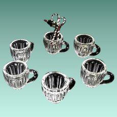Six Miniature Early American Pattern Glass Punch Cups for Dolly's Party