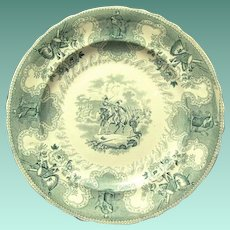 "1840's ""Texian Campaigne"" Pottery Staffordshire Plate Commemorates Texas History, Scarce Color"