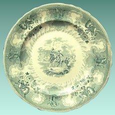 """1840's """"Texian Campaigne"""" Pottery Transferware Plate Commemorates Texas History, Scarce Color"""