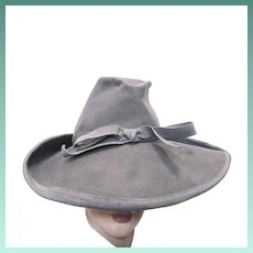 Lady's 1940's Stylish Gray Wool Felt Fedora