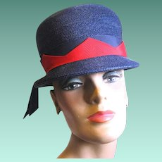 Vintage Navy Blue Straw Bucket Lady's Hat, Red Grosgrain Trim