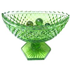 Early Green Cut Glass Footed Navette Bowl from England