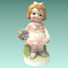 "Vintage ""Dolly Dimple"" Bisque Figurine as Flower Girl"