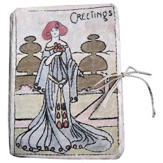 Hand Embroidered Art Nouveau Lady on Early Needle Case