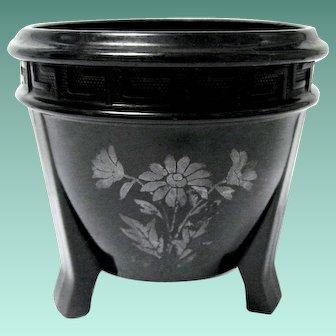 Vintage Black Glass Flower Pot, Greek Key Design by L.E. Smith