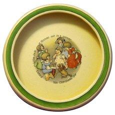 """1920's Roseville Creamware Pottery Baby Bowl, """"Jack Horner Eats Christmas Pie"""