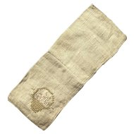 Hand Embroidered Basket of Flowers on Victorian Ecru Linen Needle Case