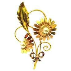 Designer Signed Van Dell Flower Brooch from the 1940s