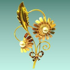 Designer Signed Van Dell Flower Brooch from the 1940s