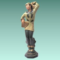 Tall Chinese Dancer Chalkware Figure from the 1940s