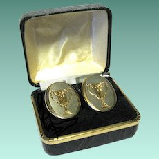 Vintage Boxed Oval Cuff Links with Loving Cups Motif