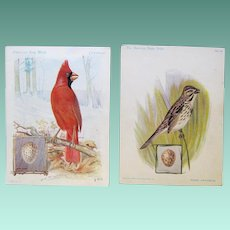 Singer Advertising Trade Cards, Cardinal, Sparrow, ca. 1900 and 1926