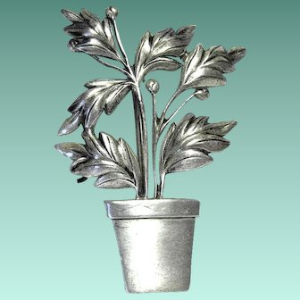 """Vintage Potted Plant Brooch or Pin marked """"Sterling"""""""