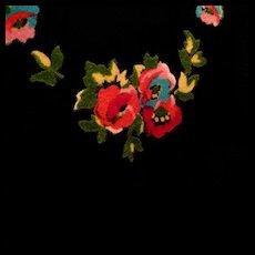 Wide Victorian Black Silk Ribbon Trim, Jewel Tone Flowers