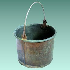 Child's Early Rustic Copper Berry Picking Bucket, Swing Handle