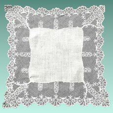 Early Tambour Embroidered Wedding Handkerchief