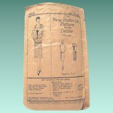 Original 1920's New Butterick Lady's Dress Pattern #1968 Including Deltor