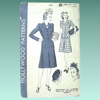 Lady's 1940's HOLLYWOOD Pattern, Two-Piece Suit, Hat and Bag