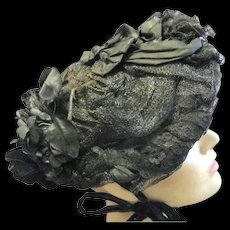Black Mourning Bonnet of Straw, Horsehair, Silk, Velvet and Lace, 1880s