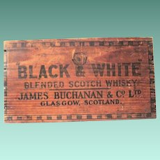 Vintage Black & White Blended Scotch Whiskey Wooden Crate End