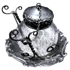 Pen Holder on Cut Crystal Ink Well with Tray, Meriden, Connecticut