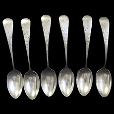 Six Gorham Sterling Silver Chased and Monogrammed Teaspoons