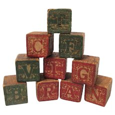 Ten Wood Victorian Alphabet Blocks in Red and Green