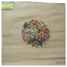 Large Bucilla Wonder-Weave Pre-worked Needlepoint Tapestry Canvas , 1950's