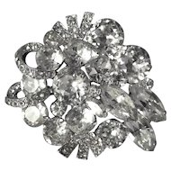 Vintage Weiss Rhinestone Brooch, Corsage shaped