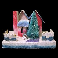 """Vintage """"Coconut"""" Covered Village Christmas Putz House, Japanese, 1930s"""