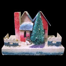 "Vintage ""Coconut"" Covered Village Christmas Putz House, Japanese, 1930s"