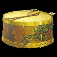 1915 Double Sided Paper Christmas Ornament, Toy Drum, Made in USA