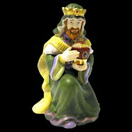 """King Melchior"" Hand Painted Bisque Figurine, Thomas Kinkade Nativity"