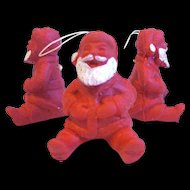 Three Tiny Santa Claus Ornaments, 1950's