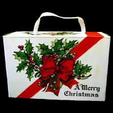 Vintage Cardboard Christmas Candy Box with Holly
