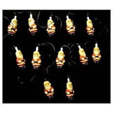 String of Santa Claus Christmas Tree Lights from the 1960's