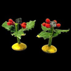 Dollhouse Miniature Christmas Candle Holders with Holly, Berries on Round Wood Bases