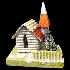 "Vintage ""Coconut"" Covered Village Christmas Putz Church, Japanese, 1930's"