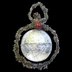 1930's Tinsel Trimmed Silver Foil Hanging Candy Container/Christmas Ornament