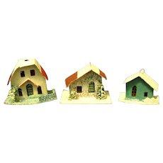 Three vintage Japanese Putz Houses/christmas Ornaments