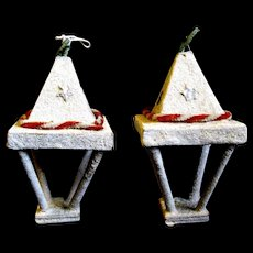 Two Mid-Century Mica Covered Christmas Lantern Ornaments