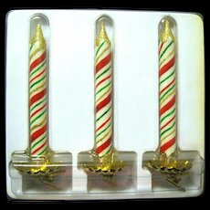 Twenty-four Glittered Striped Candle Clip-on Ornaments (8 Boxes)