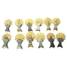 Twelve Embossed Victorian Era Clip-on Candle Holders