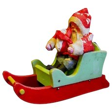 Vintage Clay-Faced Santa Claus in Sled with Gifts