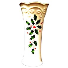 "Lenox China 5"" Tall Christmas Bud Vase, Holly Motif"