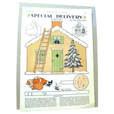Children's Christmas Activity Page from a 1930's Magazine