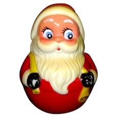 Mid Century Santa Claus Roly Poly Chime Toy