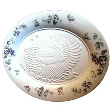 "Huge 18"" Pfaltzgraff Embossed Turkey Serving Platter, 1990 ""Grapevine"" Pattern"