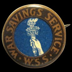 "WWI Celluloid ""War Savings Service W.S.S."" Pinback Button"